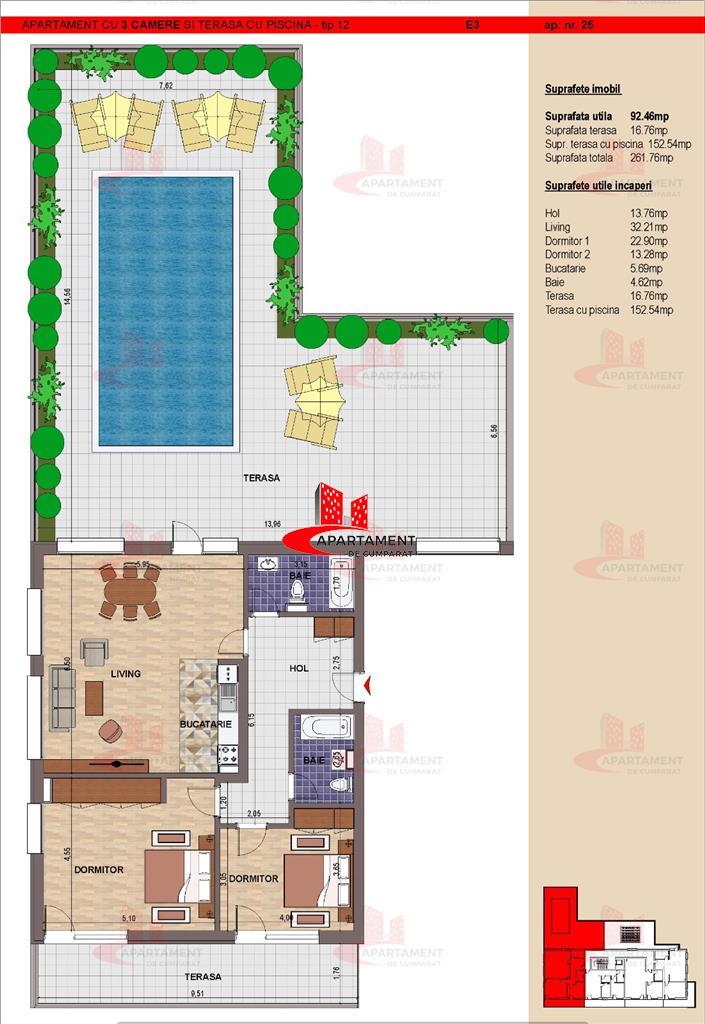 "Penthouse 3 camere cu piscina privata ! Vacanta de ""ACASA"" ! Pret promotional !"